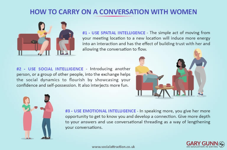 3 types of intelligence to convey in your conversations with women