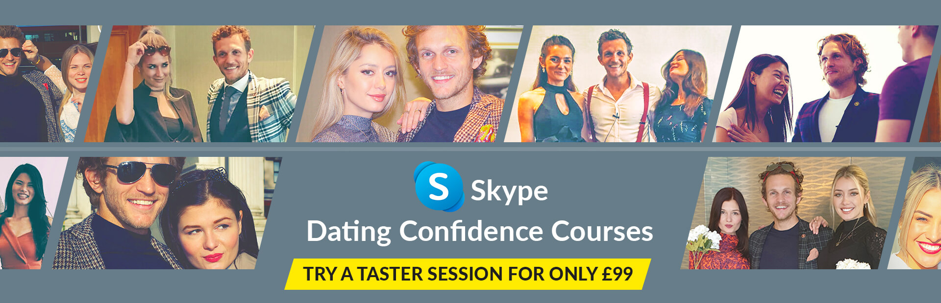 Skype dating confidence courses for men banner with attractive models