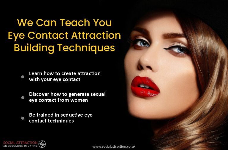 model looking at the camera with three eye contact attraction principles