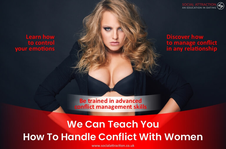 A model next to three ways Social Attraction can help you to handle conflict with women