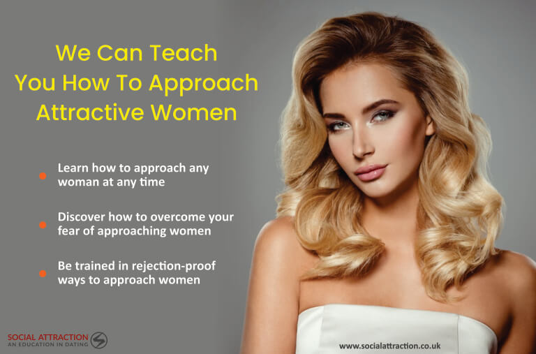 Model looking at camera with three ways for men to act on a women's signs when she wants to be approached