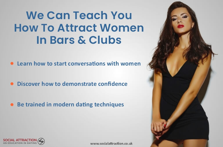 Model standing next to three ways to attract women in bars and clubs