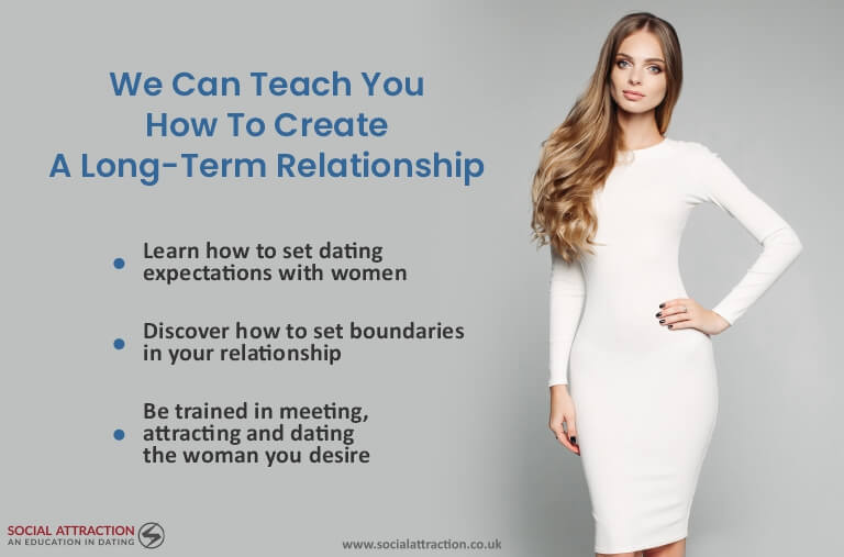 A model next to three ways Social Attraction can help you to get a long-term girlfriend
