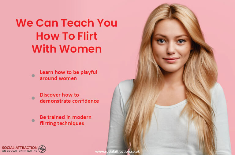 Model next to three ways to flirt with women