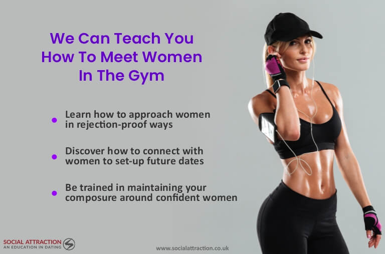 A model next to three ways Social Attraction can help you to meet women at the gym