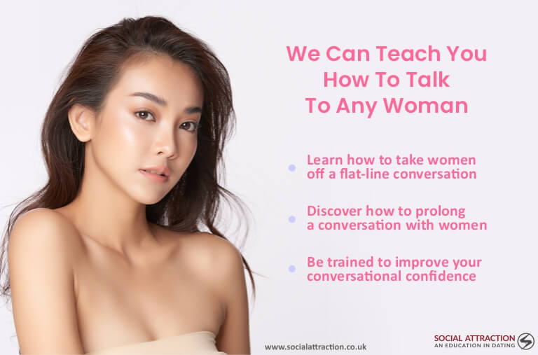 A model next to three ways Social Attraction can help you to talk to any woman including text messages