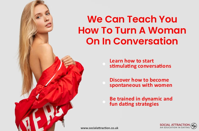 Model next to three coversational dating tips for men