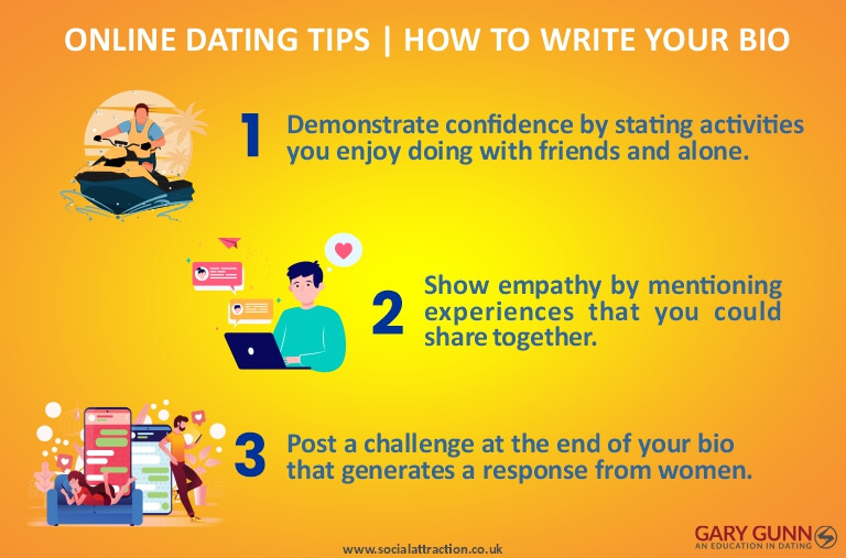 Three tips from Gary Gunn on how to write your online dating bio